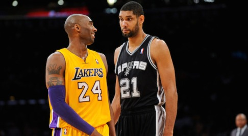 LOS ANGELES, CA - NOVEMBER 13: Tim Duncan #21 of the San Antonio Spurs and Kobe Bryant #24 of the Los Angeles Lakers share a laugh while playing on November 13, 2012 at the Staples Center in Los Angeles, California. NOTE TO USER: User expressly acknowledges and agrees that, by downloading and or using this photograph, user is consenting to the terms and conditions of the Getty Images License Agreement. Mandatory Copyright Notice: Copyright 2012 NBAE (Photo by Noah Graham/NBAE via Getty Images)